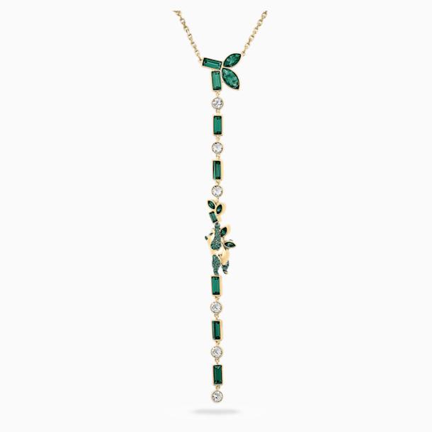 Bamboo Y-vormige pandaketting, Groen, Goudkleurige toplaag - Swarovski, 5535890