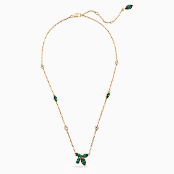 Naszyjnik bambusowy, zielony, w odcieniu złota - Swarovski, 5535891