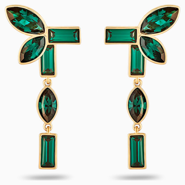 Beautiful Earth by Susan Rockefeller Pierced Earring Jackets, Green, Gold-tone plated - Swarovski, 5535896