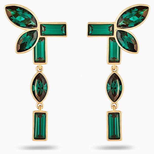 Pendientes Ear Jacket Beautiful Earth by Susan Rockefeller, verde, baño tono oro - Swarovski, 5535896