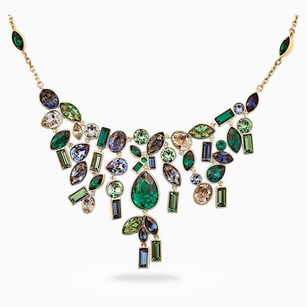 Collar Beautiful Earth by Susan Rockefeller, Bib, colores oscuros, baño tono oro - Swarovski, 5535897