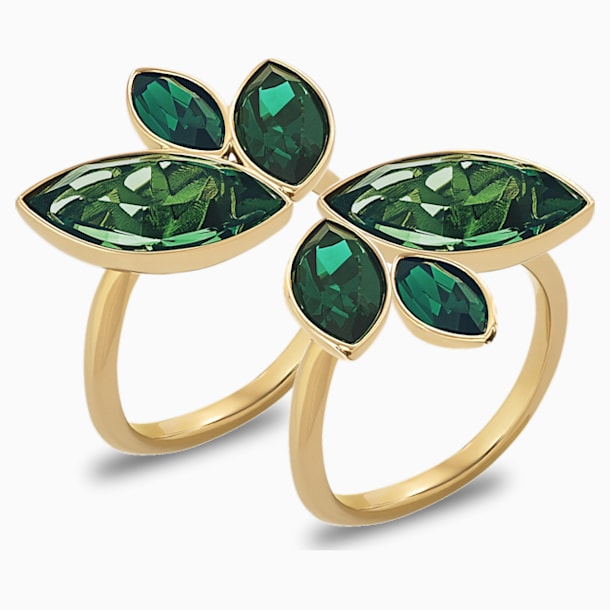 Inel Beautiful Earth by Susan Rockefeller, verde, placat în nuanță aurie - Swarovski, 5535898