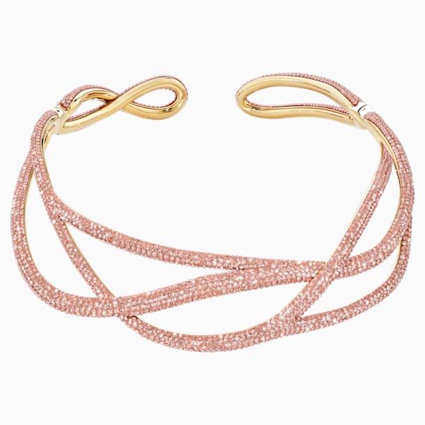 Statement obojkový náhrdelník Tigris, růžový, pozlacený - Swarovski, 5535900