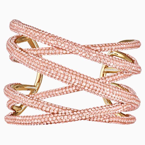 Brazalete Tigris, grande, rosa, baño tono oro - Swarovski, 5535947