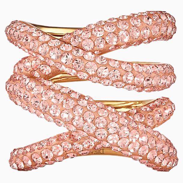 Široký prsten Tigris, růžový, pozlacený - Swarovski, 5535954