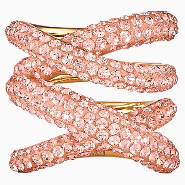 Anillo ancho Tigris, rosa, baño tono oro - Swarovski, 5535954