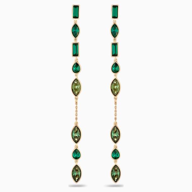 Długie nakładki na kolczyki sztyftowe z bambusem, zielone, w odcieniu złota - Swarovski, 5535986