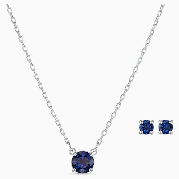 Attract Round Set, Blue, Rhodium plated - Swarovski, 5536554