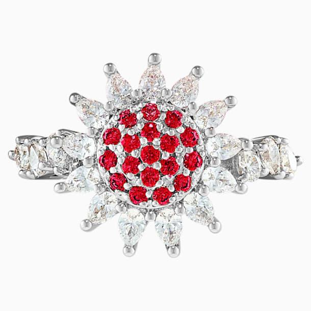 Botanical Ring, Red, Rhodium Plated - Swarovski, 5536620