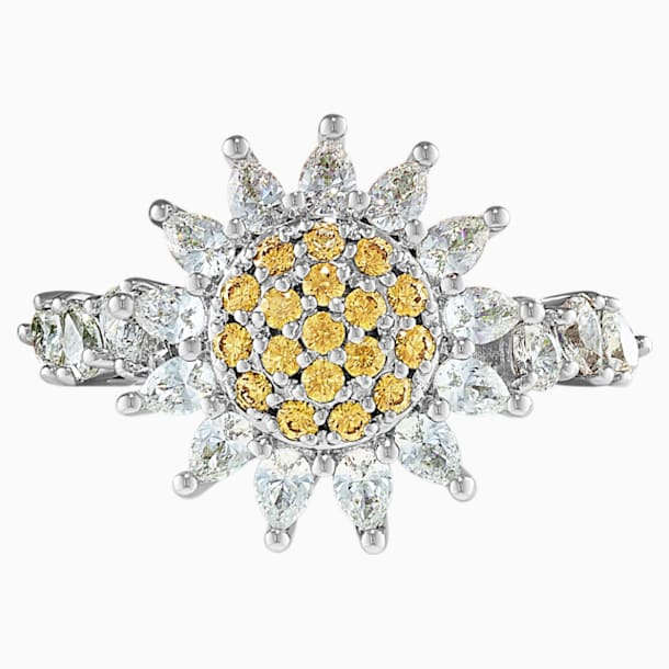 Botanical Ring, Yellow, Rhodium plated - Swarovski, 5536621