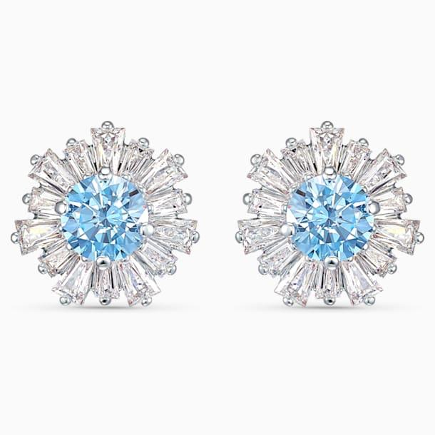 Τρυπητά σκουλαρίκια Sunshine, μπλε, επιροδιωμένα - Swarovski, 5536741
