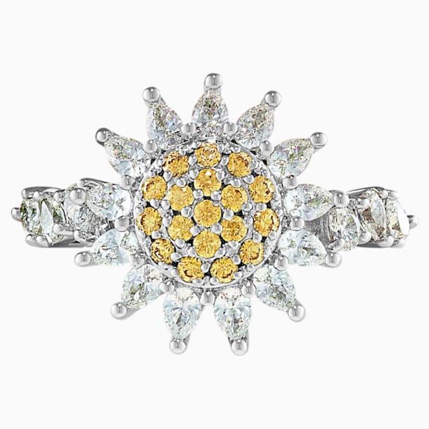 Botanical 戒指, 黃色, 鍍白金色 - Swarovski, 5536872