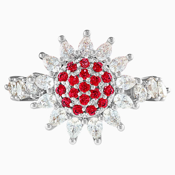 Prsten Botanical, červený, rhodiovaný - Swarovski, 5536874