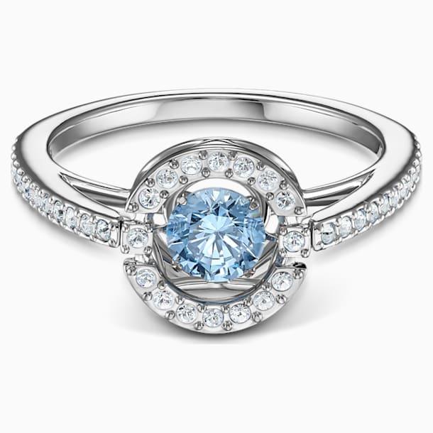 Prsten s kulatým kamenem Swarovski Sparkling Dance, akvamarínový, rhodiovaný - Swarovski, 5537057
