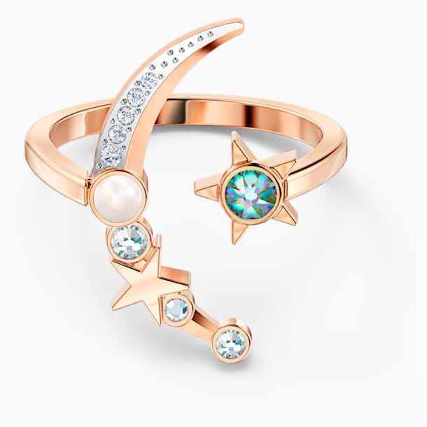Starry Night Moon Ring, Light multi-colored, Rose-gold tone plated - Swarovski, 5537127