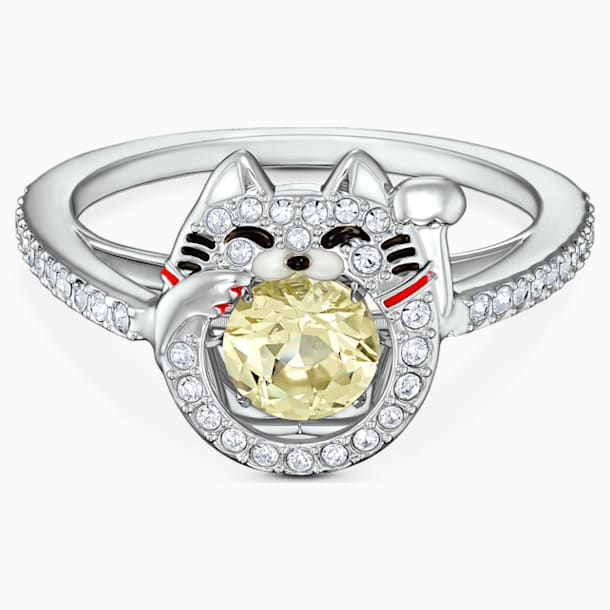 Swarovski Sparkling Dance Cat gyűrű, világos, többszínű, ródium bevonattal - Swarovski, 5537489