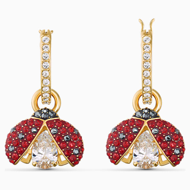 Swarovski Sparkling Dance Ladybug İğneli Küpeler, Kırmızı, Altın rengi kaplama - Swarovski, 5537490