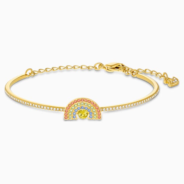 스와로브스키 Swarovski Sparkling Dance Rainbow Bangle, Light multi-colored, Gold-tone plated