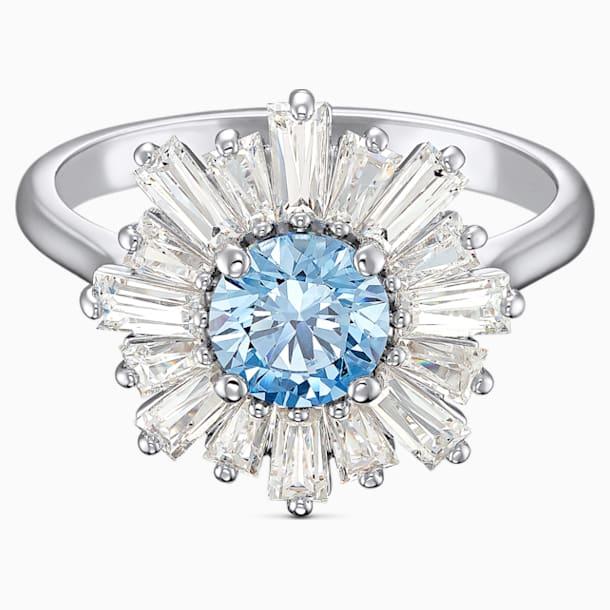 Anel Sunshine, azul, banhado a ródio - Swarovski, 5537795