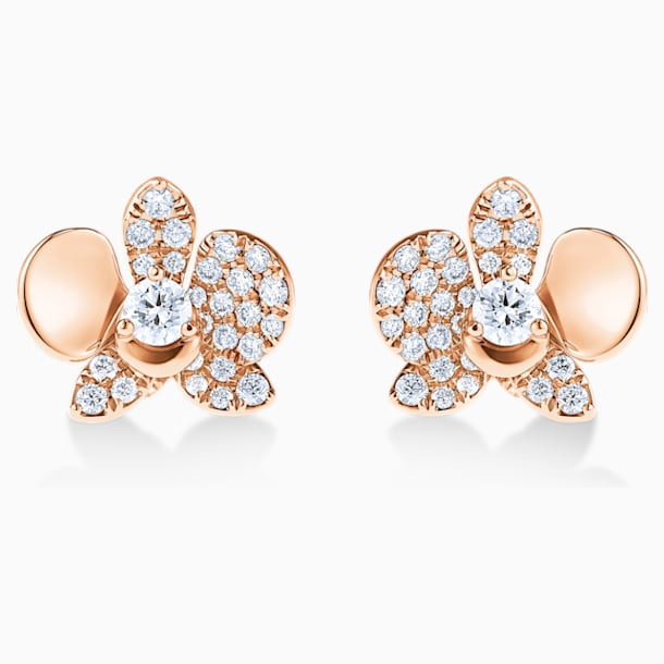 闪耀如兰18K玫瑰金钻石耳环 - Swarovski, 5538156