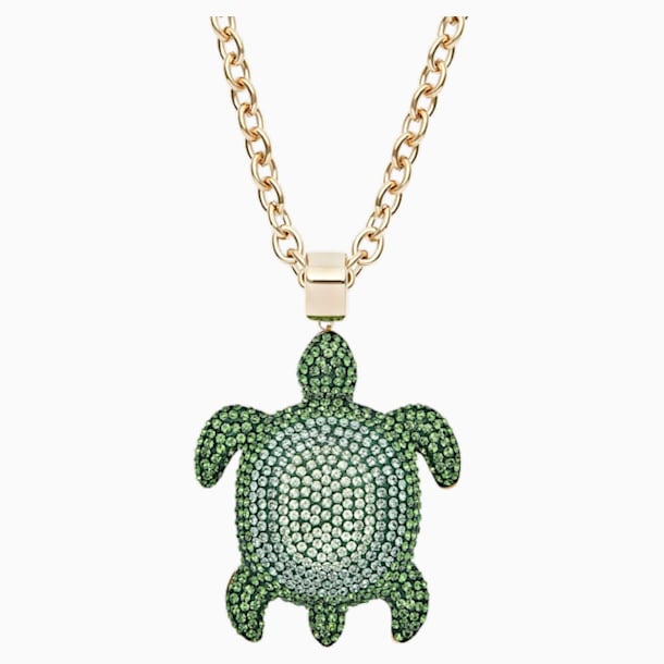 Mustique Sea Life Turtle Pendant, Large, Green, Gold-tone plated - Swarovski, 5538454