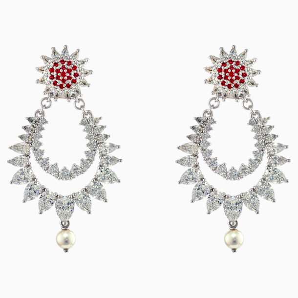 Botanical Pierced Earrings, Red, Rhodium Plated - Swarovski, 5538538