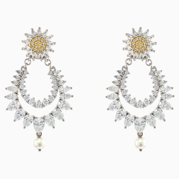 Botanical Pierced Earrings, Yellow, Rhodium Plated - Swarovski, 5538539