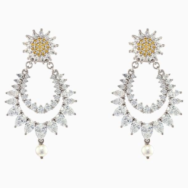 Botanical Pierced Earrings, Yellow, Rhodium Plated - Swarovski, 5538539