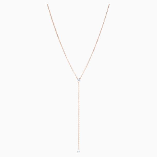 Attract Soul Y形項鏈, 白色, 鍍玫瑰金色調 - Swarovski, 5539007