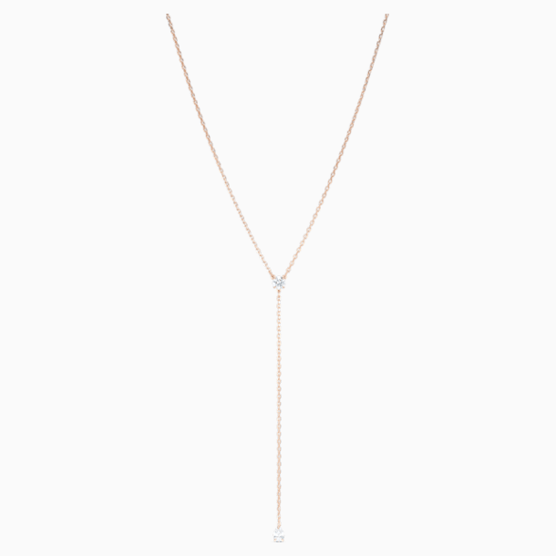 Attract Soul Y Necklace, White, Rose-gold tone plated - Swarovski, 5539007