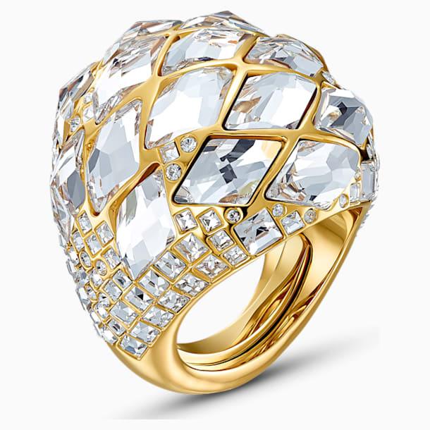 Tropical-ring, Wit, Goudkleurige toplaag - Swarovski, 5539036
