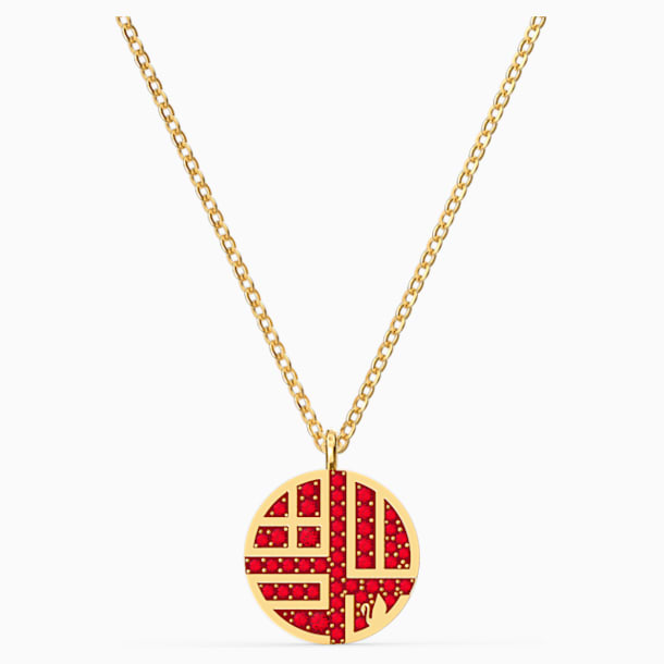 Full Blessing Fu Necklace, Red, Gold-tone plated - Swarovski, 5539894