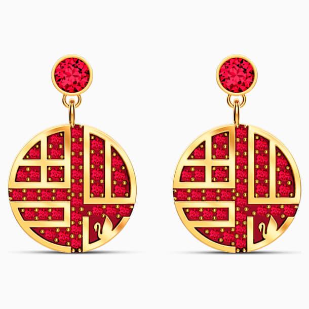 Full Blessing Fu 穿孔耳環, 紅色, 鍍金色色調 - Swarovski, 5539915
