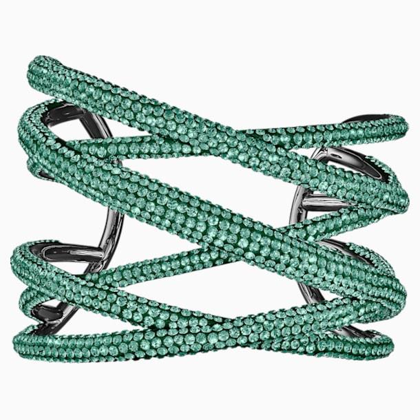 Manchette Tigris, vert, métal plaqué ruthénium - Swarovski, 5540375
