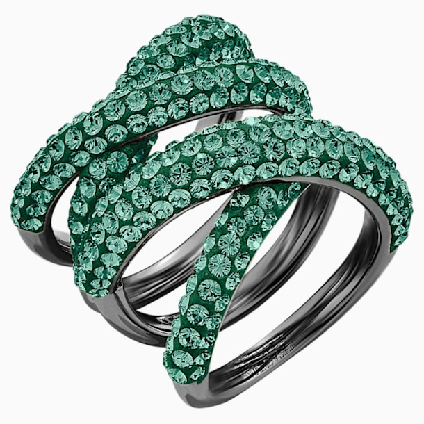 Tigris Wide Ring, Green, Ruthenium plated - Swarovski, 5540376