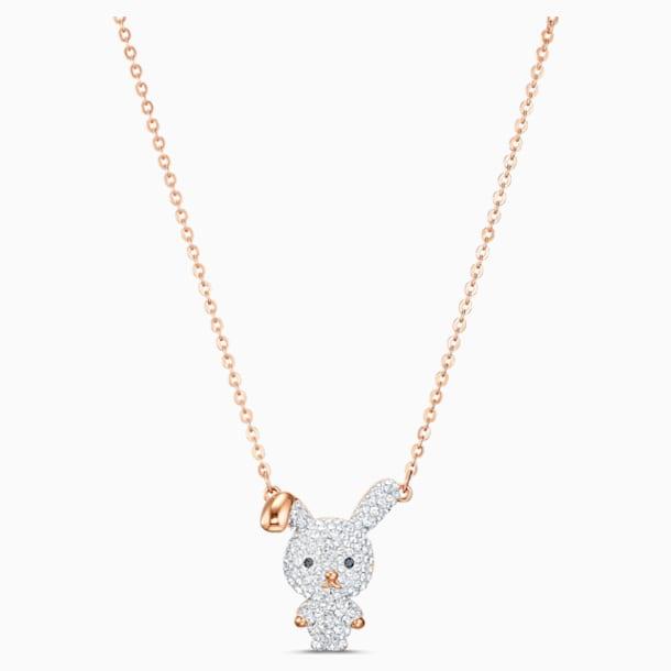 Little Bunny Pendant, White, Gold-tone plated - Swarovski, 5540494