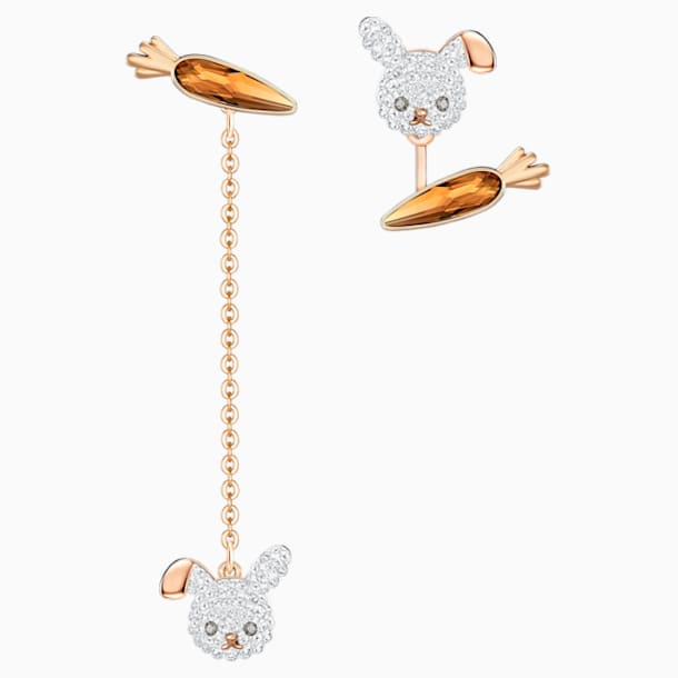 Little Bunny Pierced Earrings, Light Multi-colored, Rose-gold tone plated - Swarovski, 5540497