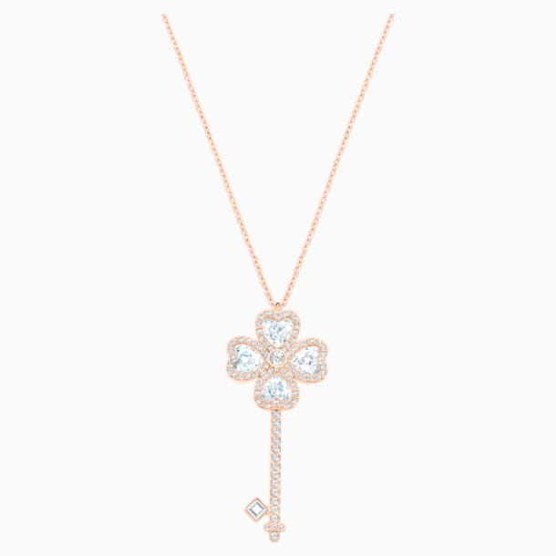 Deary Key 鏈墜, 白色, 鍍玫瑰金色調 - Swarovski, 5540499