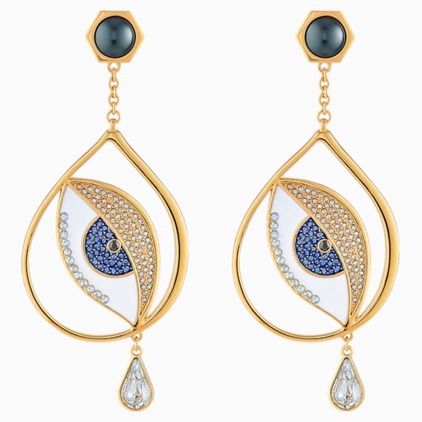 Surreal Dream Pierced Earrings, Eye, Blue, Gold-tone plated - Swarovski, 5540645