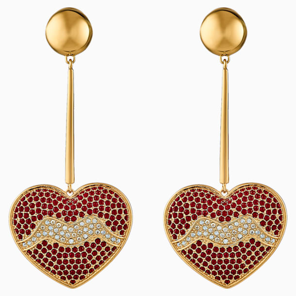 Surreal Dream Pierced Earrings, Heart, Red, Gold-tone plated - Swarovski, 5540648