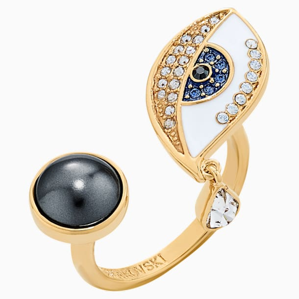 Surreal Dream Ring, Eye, Blue, Gold-tone plated - Swarovski, 5540653
