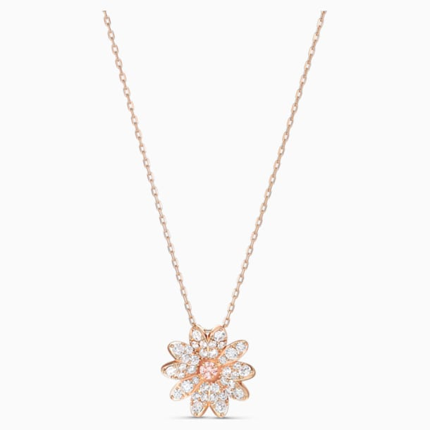Eternal Flower Pendant, Pink, Rose-gold tone plated - Swarovski, 5540973