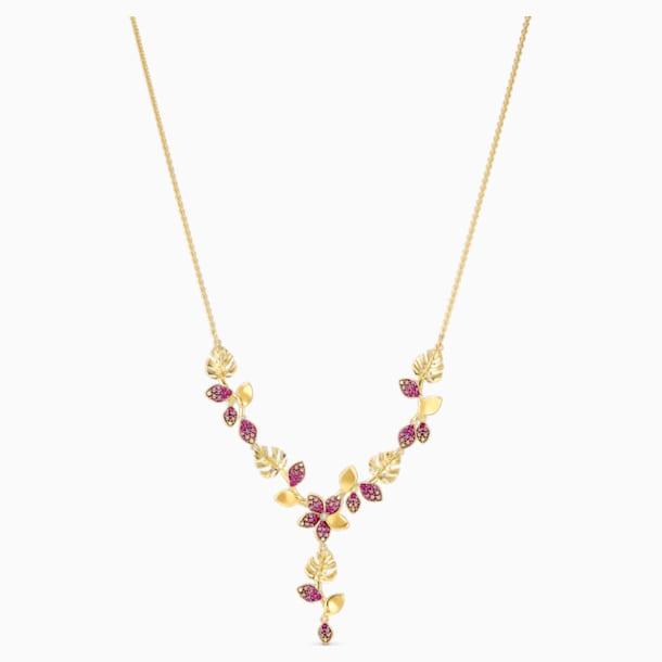 Colar Tropical Flower Y, rosa, banhado com tom dourado - Swarovski, 5541061