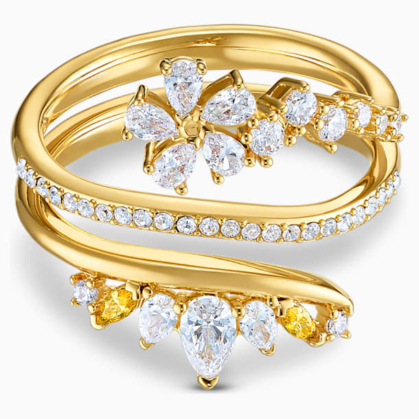 Botanical Ring, White, Gold-tone plated - Swarovski, 5542526