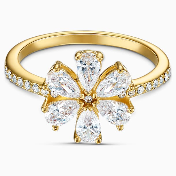 Botanical Flower Ring, White, Gold-tone plated - Swarovski, 5542530