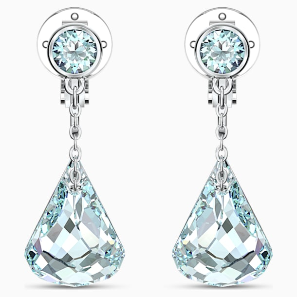Spirit Clip Earrings, Aqua, Rhodium plated - Swarovski, 5543707