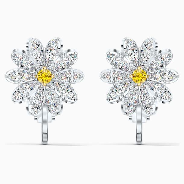 Eternal Flower Clip Earrings, Yellow, Mixed metal finish - Swarovski, 5543824