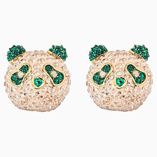 Beautiful Earth Cufflinks, Panda, Green, Gold-tone plated - Swarovski, 5545994