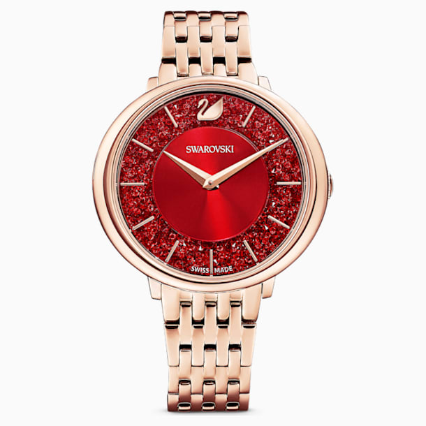 Crystalline Chic Часы, Металлический браслет, Красный Кристалл, PVD-покрытие оттенка розового золота - Swarovski, 5547608