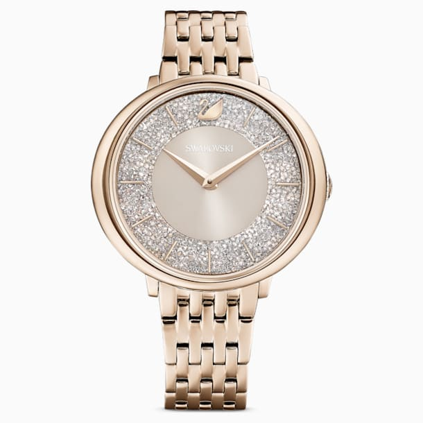 Crystalline Chic Watch, Metal bracelet, Gray, Champagne-gold tone PVD - Swarovski, 5547611